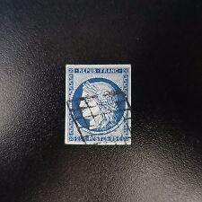 FRANCE TIMBRE TYPE CÉRÈS N°4a BLEU FONCÉ OBLITÉRATION GRILLE DE 1849 COTE 75€