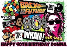Large A4 80's PARTY PERSONALISED Wafer Rice Paper EDIBLE CAKE Topper 1980's
