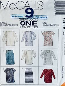 McCalls EASY Pattern 7518 Misses Pullover Tunic Tops in 9 Styles | Sizes XS S M