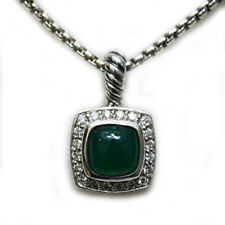 DAVID YURMAN NEW Petite Albion 7mm Green Onyx Diamond Sterling Silver Necklace