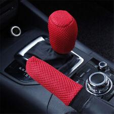 2Pcs Red Car Hand Brake Case Handbrake Grip Gear Head Shift Knob Cover LD