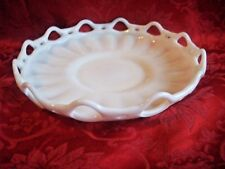 VINTAGE LACE EDGE WHITE MILK GLASS CONSOLE CENTERPIECE SHALLOW DISH 11 1/2""