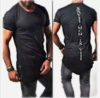 Oversize T-Shirt Schwarz Weiß Herren Kurzarm Aufdruck Print Rundhals S-XXL NEU