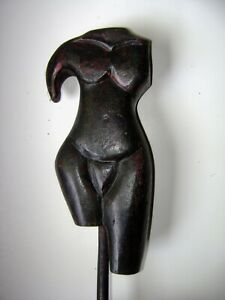 vintage abstract female  figure wood sculpture on base, unsigned, mid 20 c