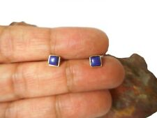 Blue Lapis Lazuli  Sterling  Silver  925  Gemstone  Square Stud Earrings -  4 mm