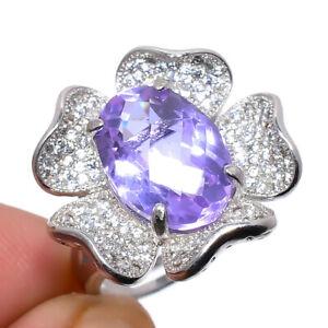 Alexandrite Quartz & Cz 925 Sterling Silver Handmade Jewelry Ring s.Ad S2630