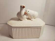 Hand Painted Fitz & Floyd 2 doves Trinket box with lid