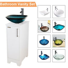 New listing 14 Inch White Bathroom Vanity Cabinet Set Vessel Glass Ceramic Sink Faucet Combo
