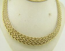"14 KARAT YELLOW GOLD 13.5 GRAMS 17"" GRADUATED WOVEN NECKLACE H16"