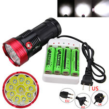 SKYRAY 30000LM 10x XML T6 LED Waterproof Flashlight Light Torch 4x18650 +Charger