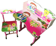 Girls Pink Table & Chair Play Study Wooden Desk Stool Kids with Clock Storage