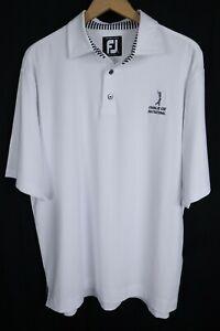 FootJoy FJ Mens sz Large Embroidered White Short Sleeve Polo Golf Shirt