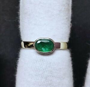 14K Yellow Gold Emerald Engagement Ring 0.9 Carat emerald gold Wedding Band