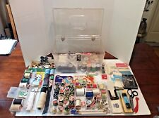 Vintage WILSON WIL-HOLD CLEAR Plastic Sewing Storage Box w/2Trays & SUPPLIES