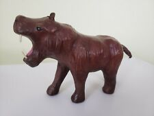 "Leather Hippo/ Hippopotamus Figurine 9"" x 5 1/2"" Brown ☆ Excellent!"