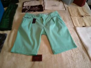 £595 Isaia Sartoriale Luxury mint green cotton dress shorts UK 34 EU Italian 50