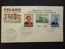 1961 Reykjavik Utgafudagur Iceland Haskoli Island Stamp First Day Cover