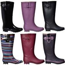 Ladies Girls Flat Extra Wide Calf Wellie Wellington Festival Rain Boots Size New