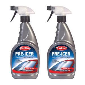 2 x Carplan Pre Icer Night Before Car Windscreen De Icer Anti Icing Spray 500ml