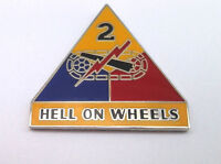 """""""2ND ARMOR DIVISION HELL ON WHEELS""""  Military Veteran US ARMY Hat Pin 14739 HO"""