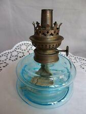 LAMPE ANCIENNE A PETROLE PAS LAMPE A HUILE EN CRISTAL BLEU