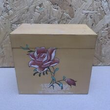 Vintage Chinese Laqueur Wooden Box Tea Caddy - Hand Painted Rose