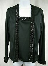 Teddi of California Size 12 Black Sequin Long Sleeve Blouse