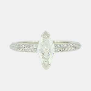Boodles Diamond Ring - 0.50 Carat Marquise Cut Diamond Engagement Ring Platinum
