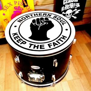 Northern soul keep the faith Upcycled Bass Drum Coffee Table with storage #