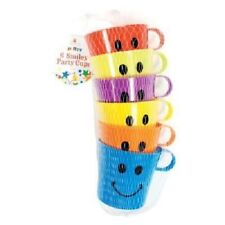 6 x Smiley Face Cups Children's Kids Plastic Party Holidays Garden Beach Mugs