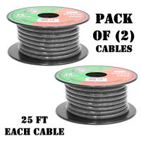 Spool Cable New Pyramid RPB825 8 Gauge Black Power Ground Wire 25 ft