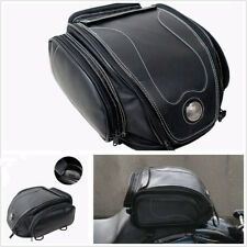 1x Waterproof Black Pu Leather Motorcycle Atv Scooter Rear Seat Luggage Tail Bag (Fits: Buell)