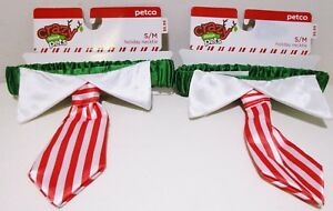 Petco Crazy About Pets Holiday Christmas Necktie Tie Collar Lot For Dog Cat S/M