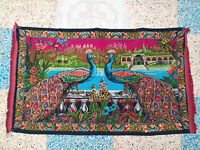 """Vintage Peacock Tapestry Colorful Rare Rug Pattern Wall Hanging Velvet 57"""" x 33"""""""