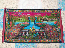 """Rare Antique Velvet Peacock Tapestry Wall Hanging Art Home Decor Vtg 57"""" x 33"""""""
