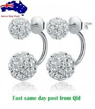 Silver Plated Double Shamballa Crystal Ball Cubic Zircon CZ Gift Stud Earrings