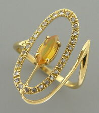 VINTAGE 14K YELLOW GOLD OLD MINE CUT DIAMOND CITRINE FLOWER RING