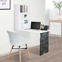 HOMCOM Wall Mounted Convertible Desk Storage Black Board