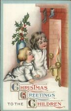 Christmas - Brother Sister Wait For Santa at Fireplace c1910 Postcard