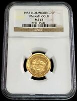 1953 GOLD LUXEMBOURG 20 FRANCS ROYAL COUPLE COIN NGC MINT STATE 64