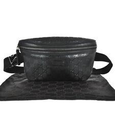 K40 GUCCI Auth GG Imprime Bum Bag Fanny Pack Belt Bag Cross body Pouch Black