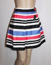 DUNNIES Brand Blue Multi Striped Pleated Day Skirt Size 14-L BNWT #SZ36
