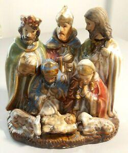 Porcelain Ceramic Nativity Scene Three Wise Men Jesus Mary 4.75 inches Tall VGUC