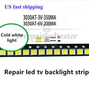 100pcs Led TV Backlight Strip 3v 6v 3030 Lamp Beads Cold White for TV Repair