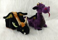 "Lot 11"" Webkinz Lava Emperor Dragon Plush Only No Code Ganz Black Orange Purple"