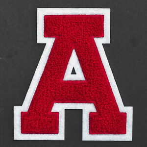 """4-1/2"""" Chenille Stitch Varsity Iron-On Patch by pc, Red/White, TR-11648"""