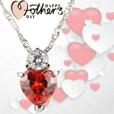 """18"""" 925 Red Garnet Heart Mothers Day Birthday Gift for Wife MOM Crystal GIFT BOX"""