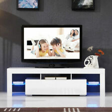 High Gloss White TV Stand Unit Cabinet With LED Light 2 Drawers /door Console RC
