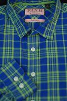 Thomas Pink Men's Bright Blue Green Check Luxury Cotton Casual Shirt M Medium