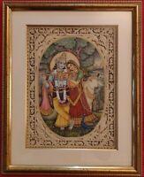Hand Painted Krishna Radha God India Art Maharajah Goddess Miniature Painting